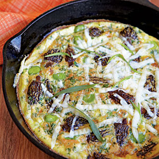 Frittata with Morels, Fava Beans, and Pecorino Romano Cheese.