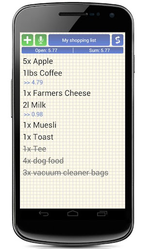 Shopping Grocery List + Widget