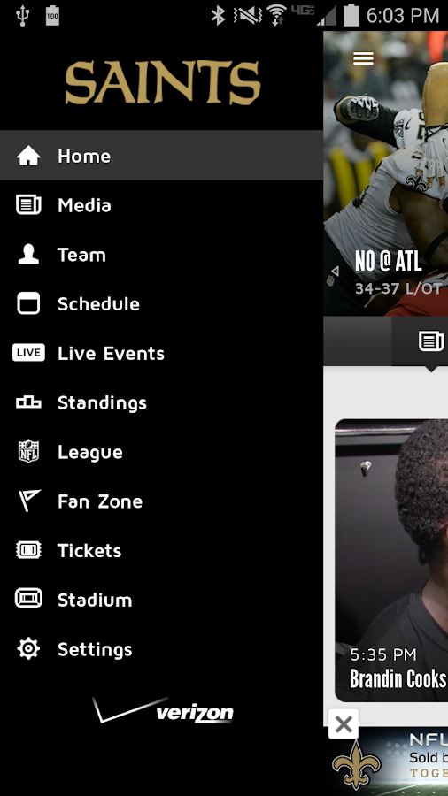 New Orleans Saints Mobile - screenshot
