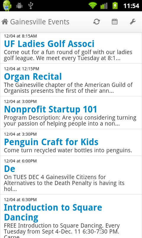 Gainesville Events- screenshot