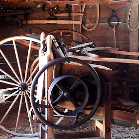 Wheels Of The Past by Roxanne Dean - Artistic Objects Industrial Objects ( woodshop carriage repairs tools spokes horse supplies,  )