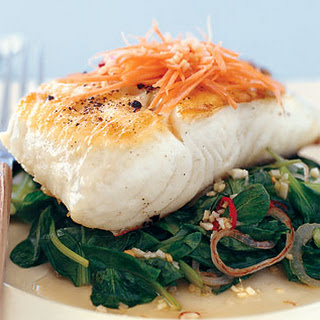 Grilled Halibut with Tatsoi and Spicy Thai Chiles.