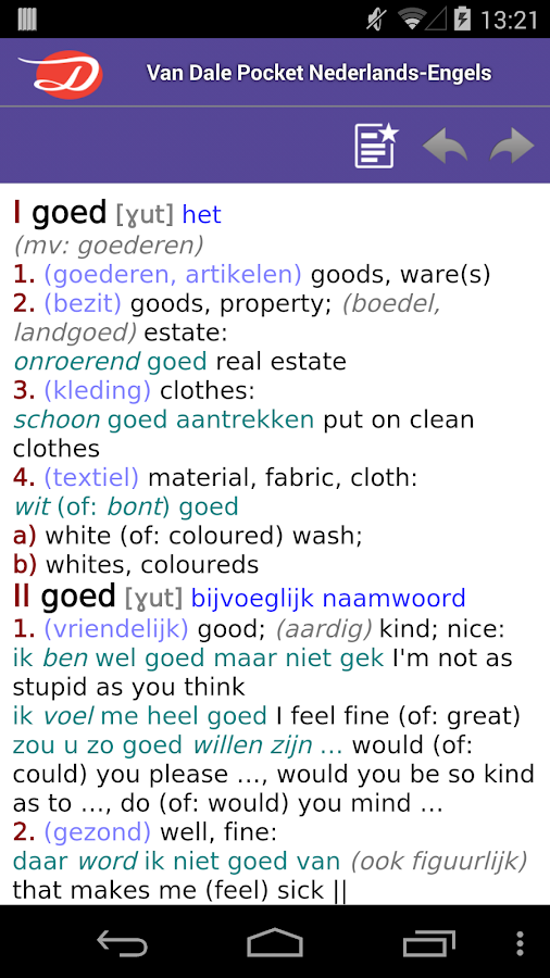 Van Dale English <> Dutch Dictionary- screenshot