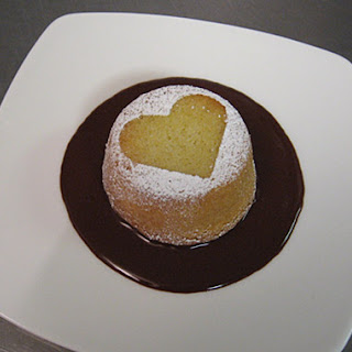 Almond Cakes with Chocolate Passion-Fruit Sauce.