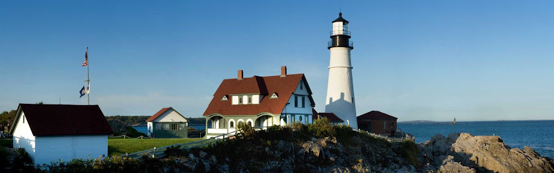 An operating lighthouse on Maine's picturesque coast.