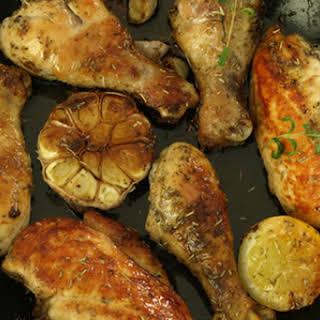 Skillet Chicken with Lemon-Garlic Sauce.