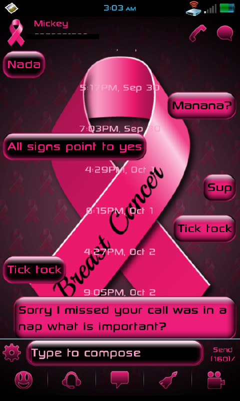 GO SMS PRO BREAST CANCER THEME - screenshot