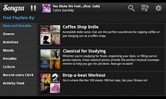 Screenshot of Songza (for tablet)