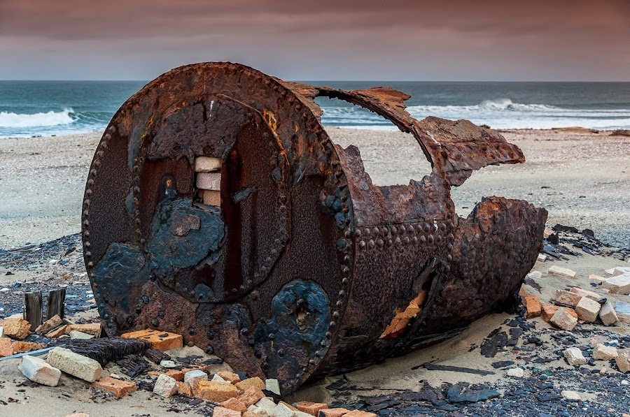 Boiler by Johan Jooste Snr - Artistic Objects Industrial Objects ( whaling, boiler, rust, coast, iron, historic, namibia )