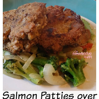 Salmon Patties Over Stir Fried Vegetables