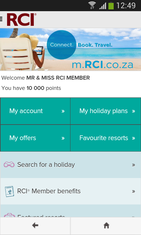 RCI - South Africa- screenshot
