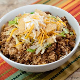 15 Minute Taco Rice Casserole.