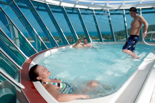 Liberty-of-the-Seas-whirlpool - Liberty of the Seas has six glorious whirlpools, two of them cantilevered whirlpools overlooking the ocean.