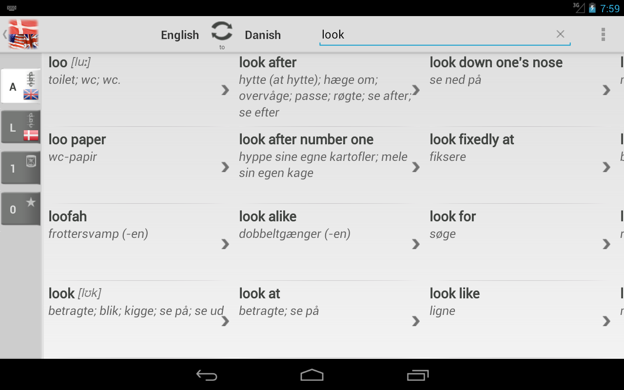 dictionary danish english lukket