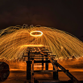 Dome Of Sparks by Adrian Choo - Abstract Light Painting ( steel wool, spin, bridge, sparks, fire )
