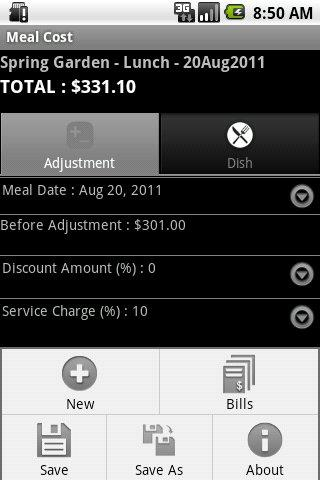 Meal Cost - screenshot