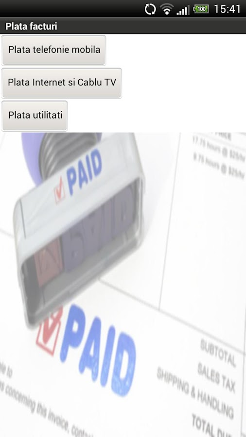 Plata facturi - Bill Payment - screenshot