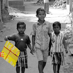 Kite that takes their hopes to sky by Surajit Rudra - Babies & Children Babies