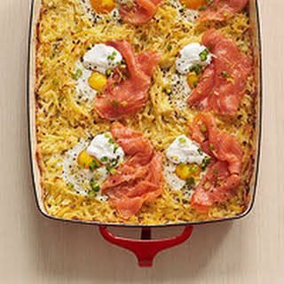 Hash Brown Bake with Eggs & Smoked Salmon.