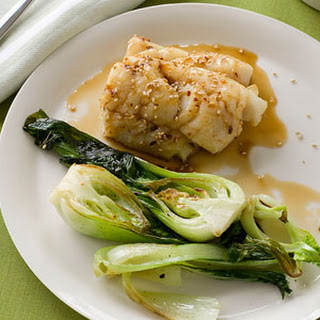 Maple-Glazed Cod with Baby Bok Choy.