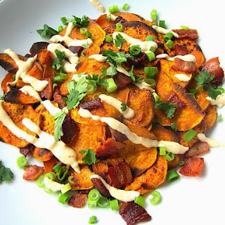 Sweet Potato Nachos w/ Bacon, Green Onions & Chipotle Cheese Sauce