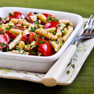 Penne Pasta with Tomato, Herb, and Feta No-Cook Pasta Sauce.