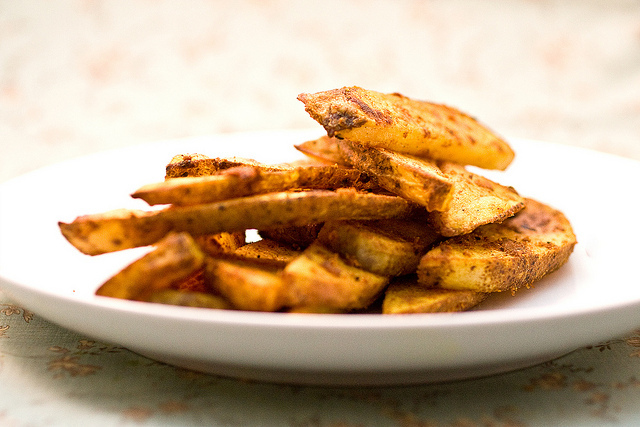 Baked Garlic Curry Fries Recipe