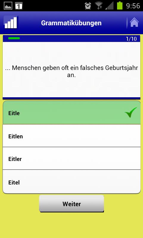 Deutsch Übungen Grammatik – Screenshot