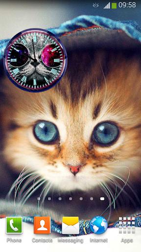 可愛的貓 時鐘 小工具
