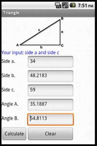 Right Angled Triangle Screenshot