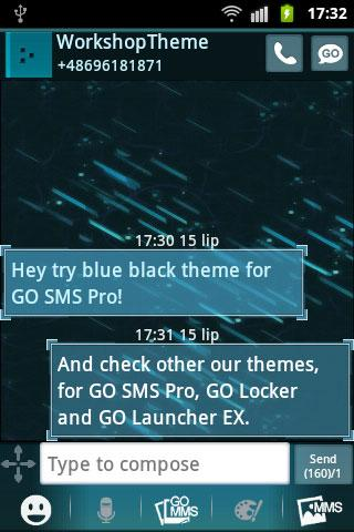 GO SMS Theme Black Blue - screenshot