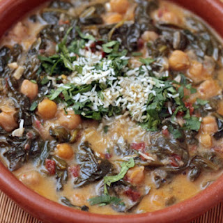 Braised Coconut Spinach with Chickpeas and Lemon.