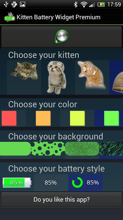 Kitten Battery Widget- screenshot