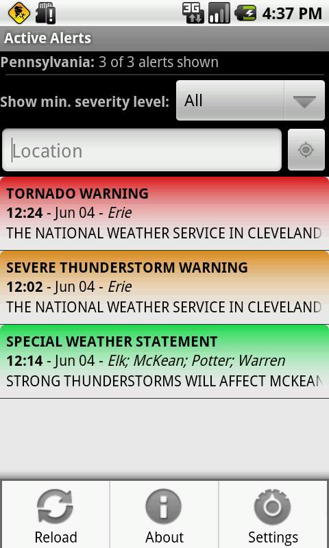 Active Alerts - Weather Alerts - screenshot