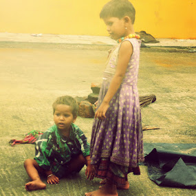refuge by Ryan Rozario - Babies & Children Children Candids ( and a girl, refuge, little boy, poor, children, helpless,  )