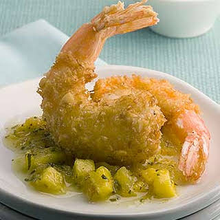 Coconut Macadamia Shrimp With Warm Tropical Salsa.