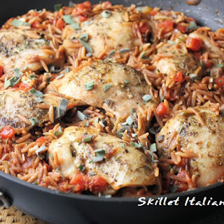 Skillet Italian Chicken with Orzo.