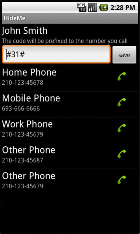Hide phone number- screenshot