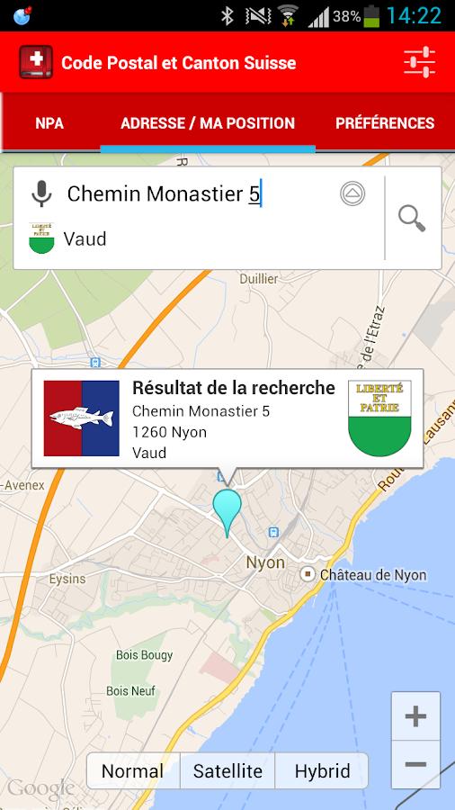 code postal et canton suisse � applications android sur