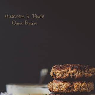 Mushroom Quinoa Burgers with Roasted Garlic & Thyme Mayonnaise.
