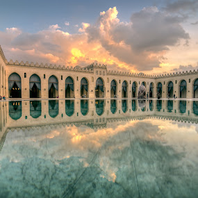 Mosque in reflect  by Hany Todros - Buildings & Architecture Public & Historical ( water, reflection, sky, cairo, mosque, cloud, hany todros, old cairo, egypt )