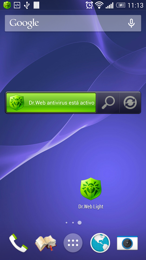 Anti-virus Dr.Web Light: captura de pantalla