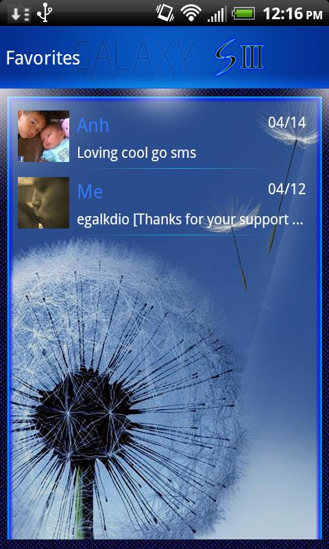 Galaxy theme for GO SMS PRO - screenshot