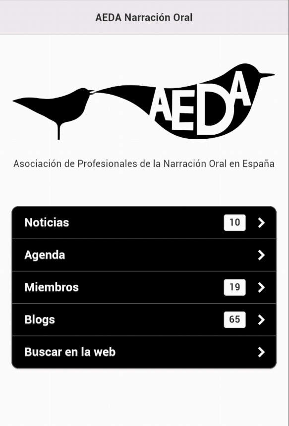 AEDA Narración Oral: captura de pantalla