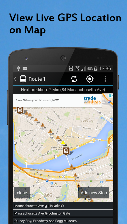 MBTA Boston Bus (Maps &Alerts) - screenshot