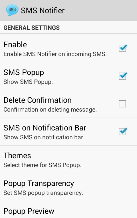 SMS Notifier (SMS Popup) - screenshot