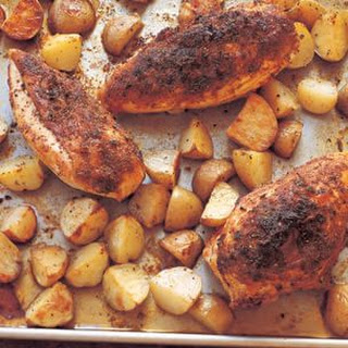 Smoky Roasted Chicken Breasts with Potatoes and Sherry Sauce