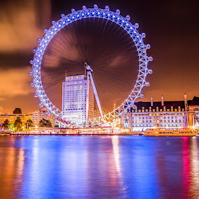 Night Lights of London Eye by Charles Ong - City,  Street & Park  Night (  )