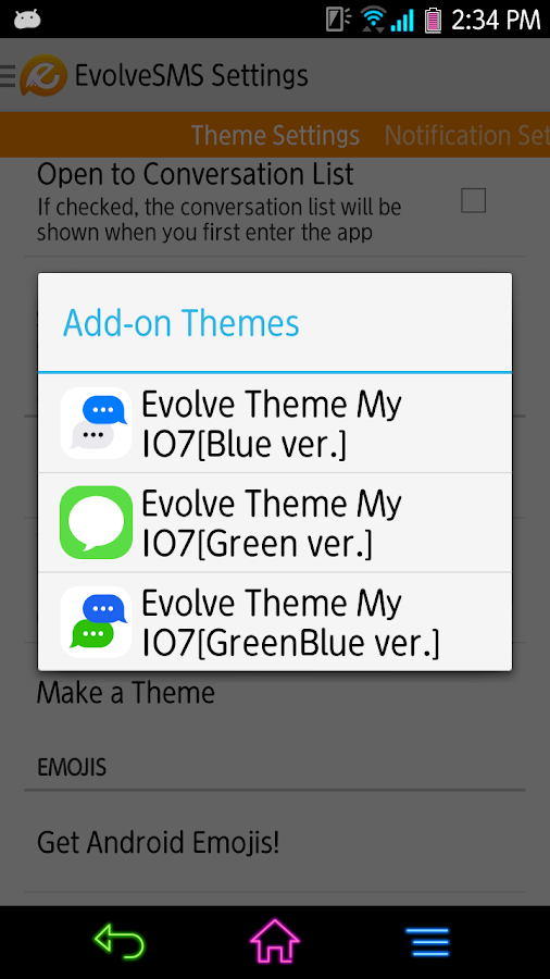 Evolve SMS - My I7[GreenBlue] - screenshot