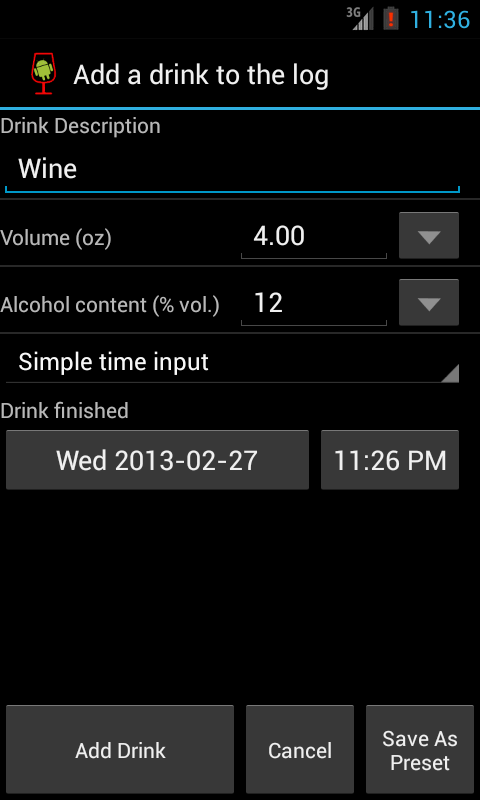 AlcoDroid Alcohol Tracker - screenshot